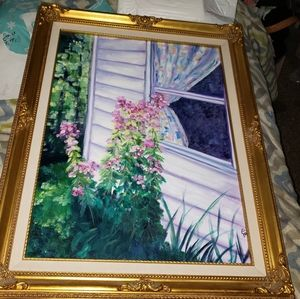 Beautiful canvas painting in vintage ornate   '